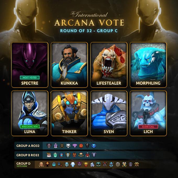 Стали известны 8 героев из группы C, которые прошли в третий этап голосования за аркану в Dota 2