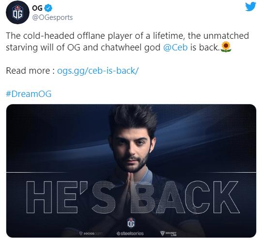 Ceb вернулся в OG, SumaiL покинул состав
